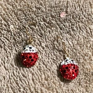 10k Yellow Gold Crystal Ladybug Dangle Earrings